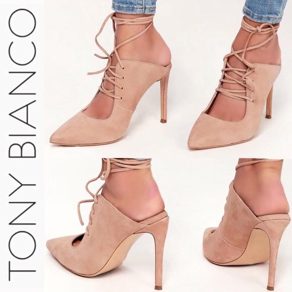 4678d05bbc1b Tony Bianco Lara Blush Suede Leather Heels